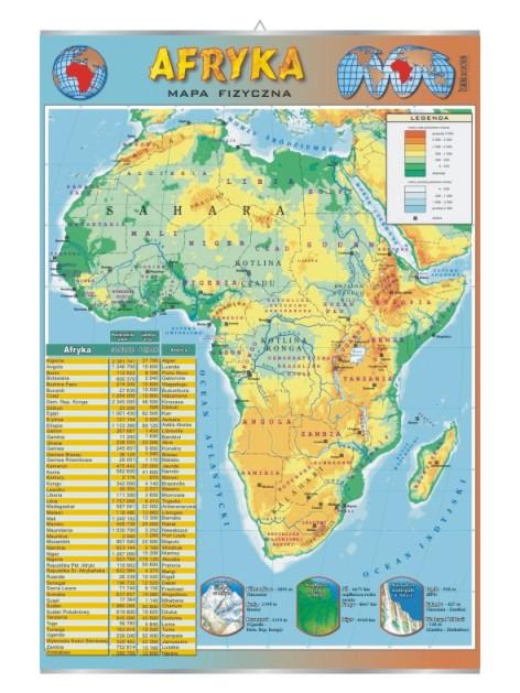 Afryka Mapa Scienna Polityczno Fizyczna