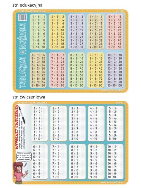 Tabliczka mnożenia - edukacyjna podkładka ćwiczeniowa - ABC 03